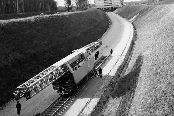 Construction du chemin de fer à Évry